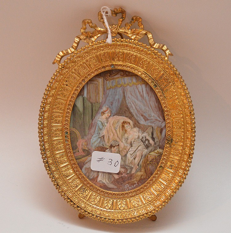 Signed miniature painting in gilt frame, 5 3/8