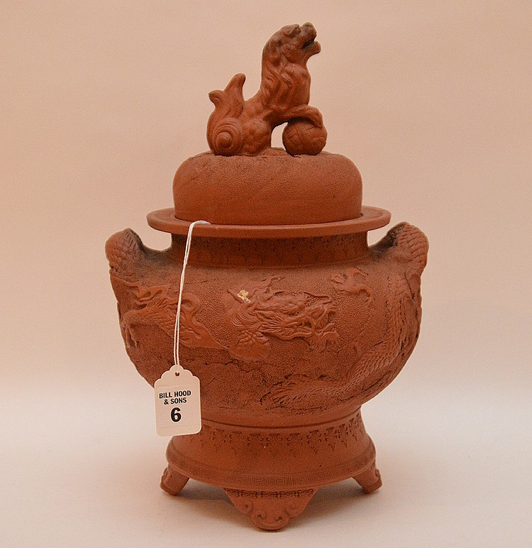 Antique Chinese Terra Cotta Urn with foo dog top. Ht. 13