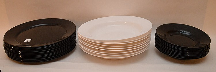 Arcoroc France white and black glass bowls and plates, (13) black plates, 12 1/2