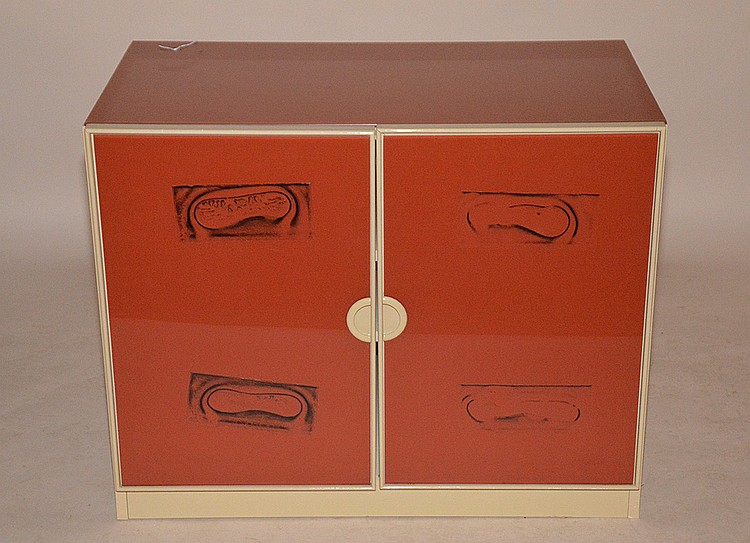 Modern small cabinet, two tone laminate finish, 2 doors and 2 interior shelves, 29
