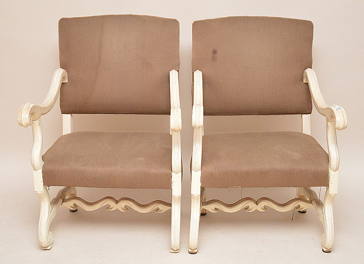 Pair painted white arm chairs with beige upholstery