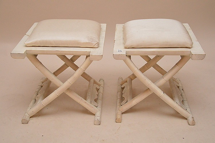 Pair painted white upholstered stools, 18