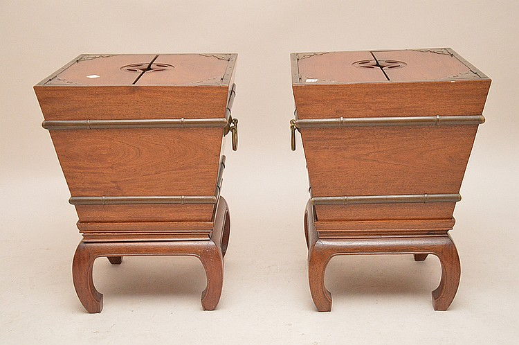 Mahogany Asian style unusual 2 piece end tables/planters, 2 hinged panels reveal tin lining, rusty, 25