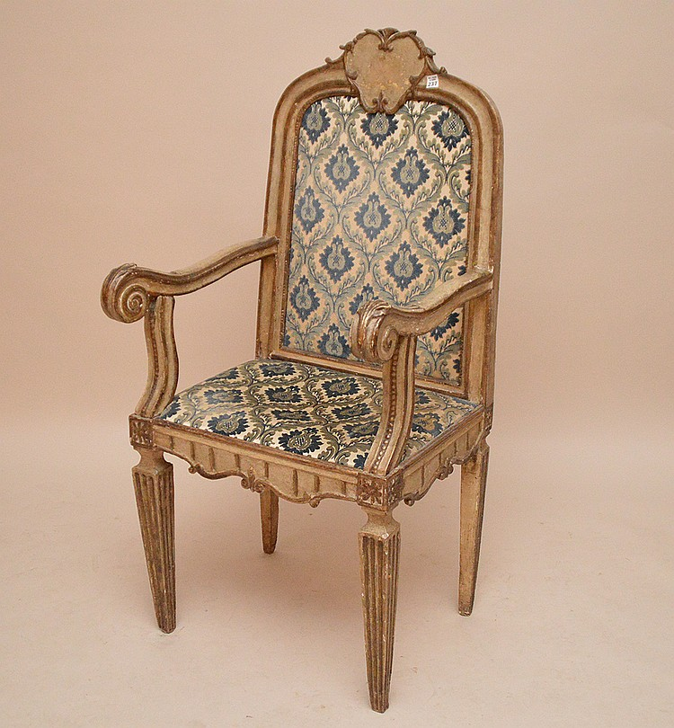 Oversized painted and carved Continental 19th c. arm chair, blue, greys, silvers, 50