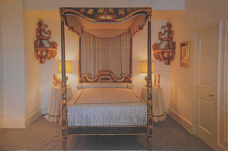 (Bolivian) Spanish 18th Century Carved Gilded and Painted four poster Canopy Bed, 58