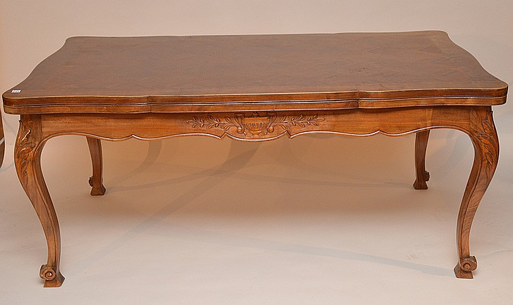 French table, parquetry surface, top extends, 29 1/2