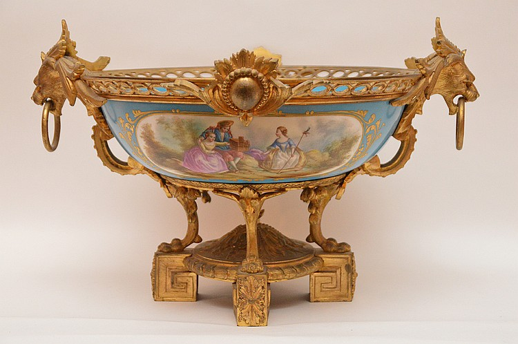 19th Century Gilt Bronze Mounted Sevres Center Bowl. Ht. 11