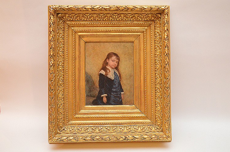 "ANDRE HENRI DARGELAS, French 1828-1906, "" Young Boy"", oil on wood panel 9"" x 6 ½"", signed lower right, in an elaborate and large gold leaf period frame. This artist has auction records for over $100,000"