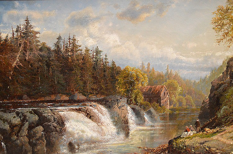 "EDMUND DARCH LEWIS, American 1835-1910, ""Hudson River Waterfall"", oil on canvas 16"" x 25"", signed and dated lower left, in a decorative gold period style frame"