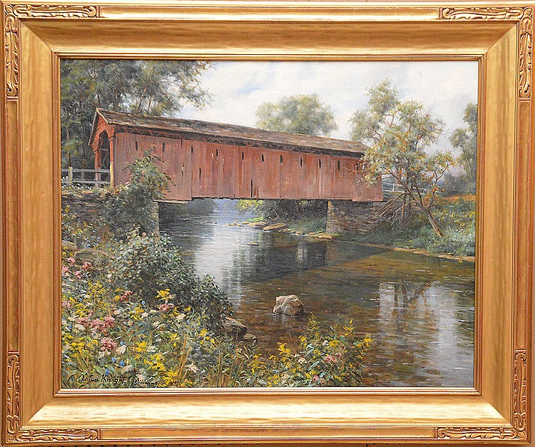 "ASTON KNIGHT, American 1873-1948, ""Covered Bridge, Bennington Vermont"", oil on canvas 26"" x 32"", signed and titled lower left, in a gold leaf American style frame. Spanierman Gallery lable on revers."