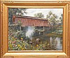 """ASTON KNIGHT, American 1873-1948, """"Covered Bridge, Bennington Vermont"""", oil on canvas 26"""" x 32"""", signed and titled lower left, in a gold leaf American style frame. Spanierman Gallery lable on revers."""