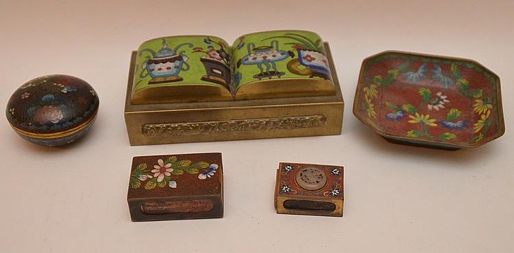 (5) assorted cloisonné pieces, 1 matchbox holder with jade medallion