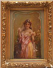 Hans Zatzka (Austrian, 1858-1945) young girl w/ veil, oil on canvas/board, 9-1/2in. x 6-1/2in.