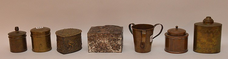 (7) assorted brass metal boxes, 1 marked sterling and pure bronze Jos Heinrich's