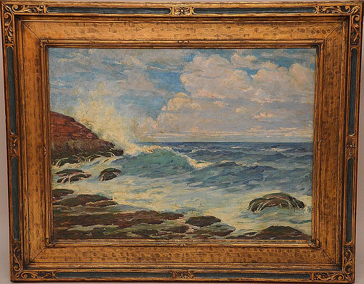 Walter Russell (AMERICAN, 1871-1963) Large oil on canvas, Seascape, 30in. X 40in.