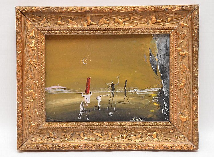 Salvador Dali (Spain 1904 - 1989) Landscape with partially invisible cow and standing, walking, and seated figures with red tower, mixed media on panel, 21 x 27cm. 8-1/4inches x 10-1/2inches, Signed lower right Dali. Comes w/ Appraisal report from