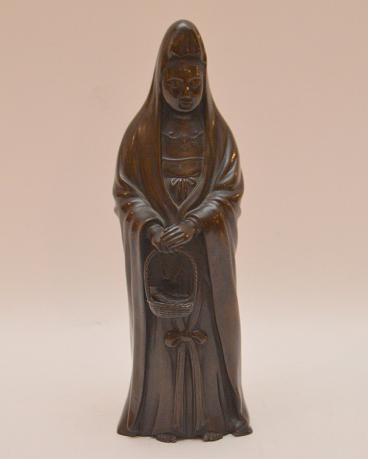 Bronze deity, signed, 8 3/4