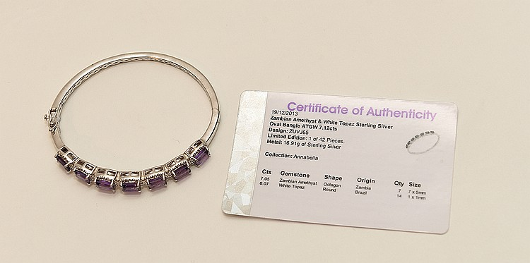 Lady's Bangle Sterling Silver, Zambian Amethyst & White Topaz. 7.12 cts.
