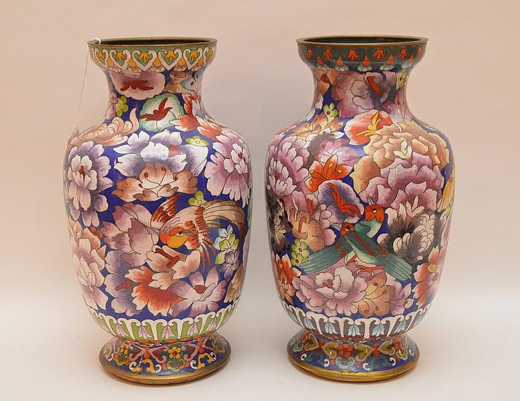 Pair cloisonné vases, multi color, 12 1/2
