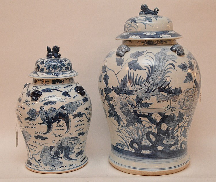 2 Chinese porcelain blue and white jars, 18