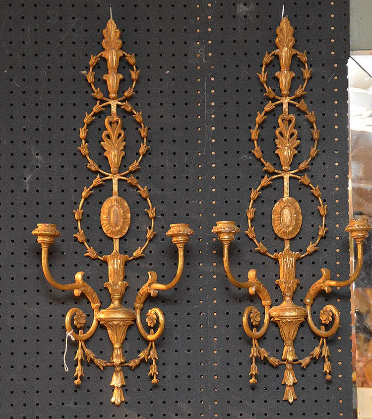 Pair Carved Giltwood Two Light Sconces. Ht. 30
