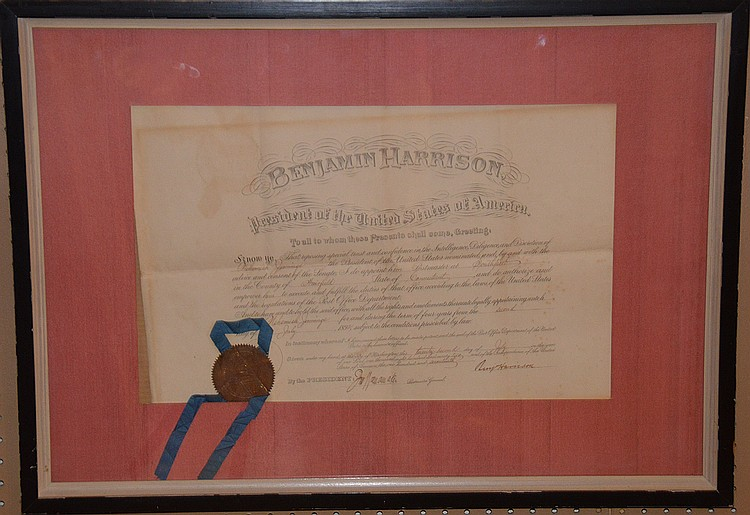 Benjamin Harrison President of the USA, Autograph / Signature , July 1892 hand signed Certificate, 13-1/2inches x 21-1/2inches