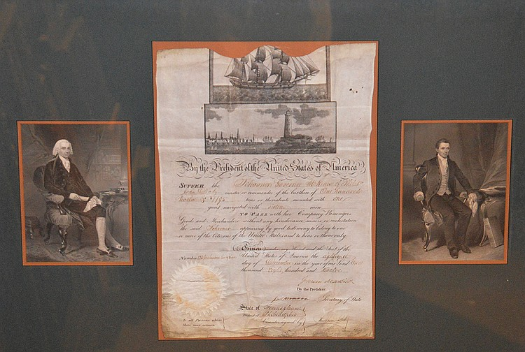 James Madison and James Monroe 4th & 5th Presidents of the USA, Autograph / Signature Vellum ship's paper, An important partly printed document from 1806. Washington. Scalloped top vellum ship's paper with engraved pictures of sailing ship and
