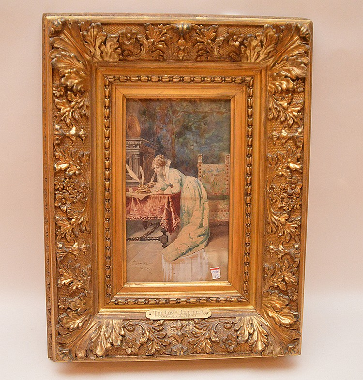 Colombo da Ricci  (19th Century Italian) Watercolor, THE LOVE LETTER, painting size is 11inches x 6-1/2inches sight