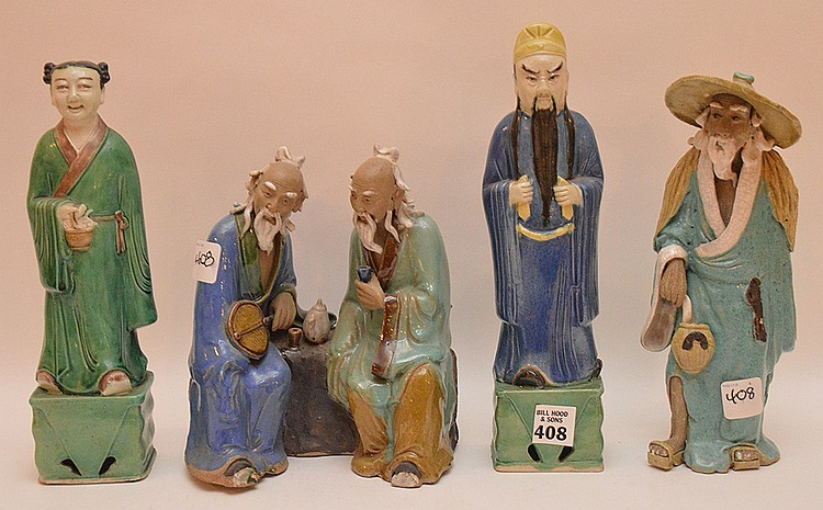 4 Chinese ceramic mud figures, approx. 8
