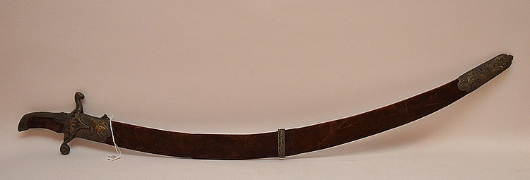Turkish Sword with decorated metal handle and sheeth.  Lth 41