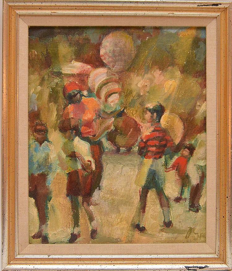 Marian Smith (American 20th century) oil on board, Carnivale Calle Ocho, 15in. x 12in.