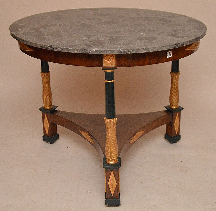 19th c. French round table with gilded accents and marble top