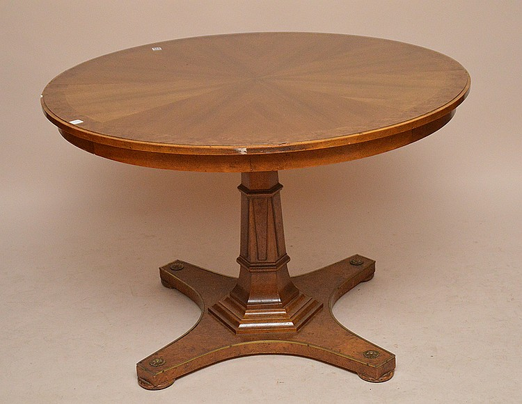 Round burled wood table with center pedestal, 29 1/2