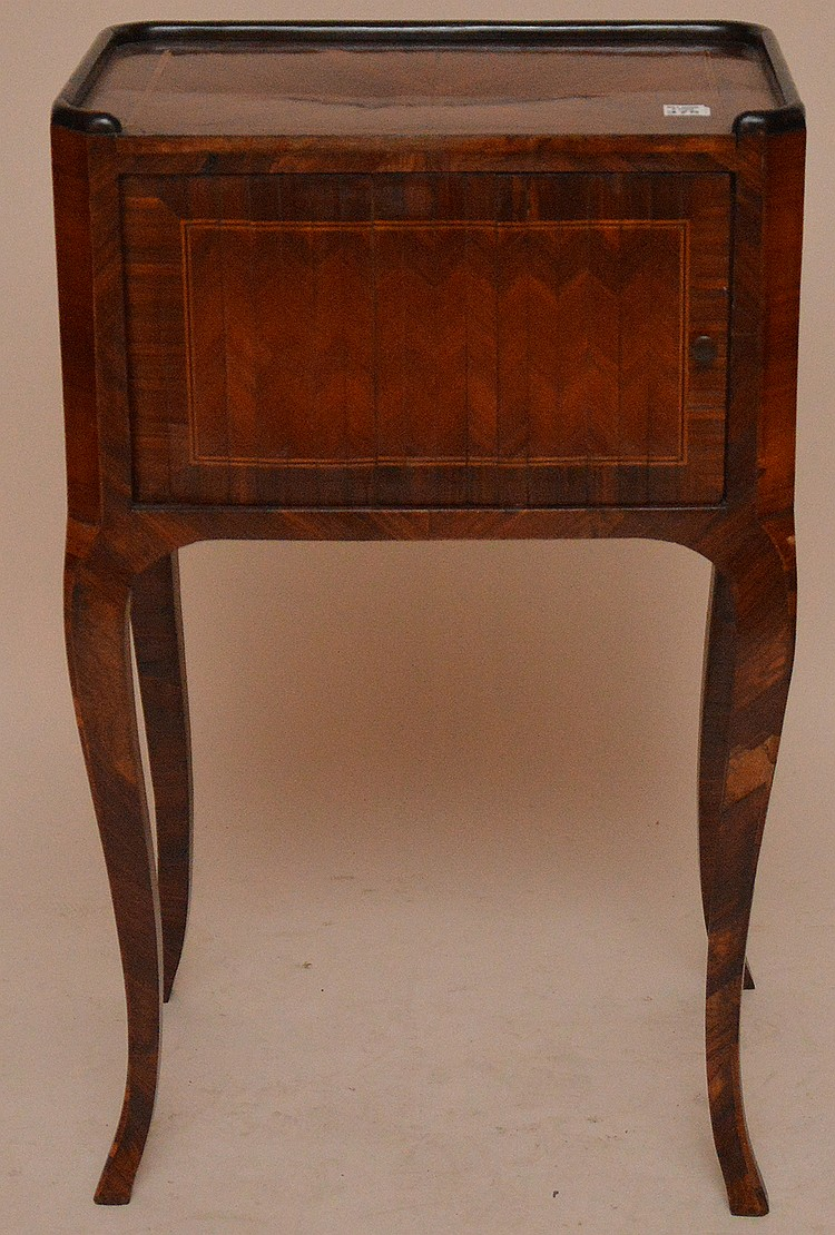 French 19th c. cabinet single door (some veneer loss)