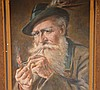 3 Antique paintings of old gentleman smoking, o/b 11 x 8,  ob 9 x 7, o/c 11 x 7