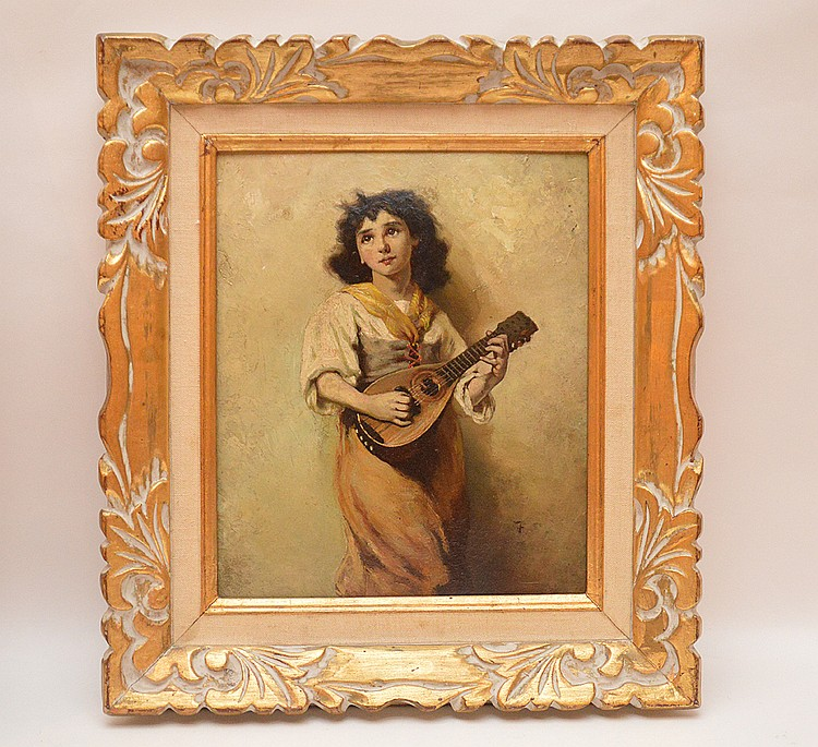 Italian girl w/ mandolin, oil on cardboard, signed illegibly, approx. 12inches x 10inches