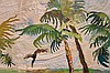 "20TH CENTURY TAPESTRY, ""Palm Trees by the Sea"", 40"" x 50"", signed with initials."
