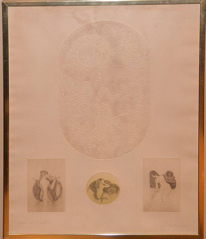 Lebadang Vietnam b. 1922,  lithograph w/intaglio etchings, 3 nudes, pencil signed, 27inches x 20inches overall
