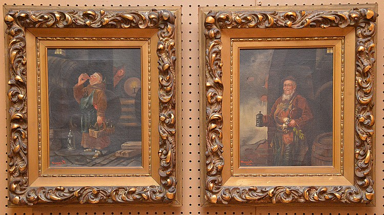 2 old Monk Paintings by Sauret, oil on canvas, 14in x 11inches, overall framed size is 20in. X 23in.