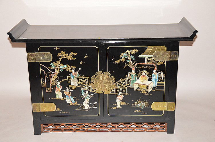 Black lacquered coromandel cabinet