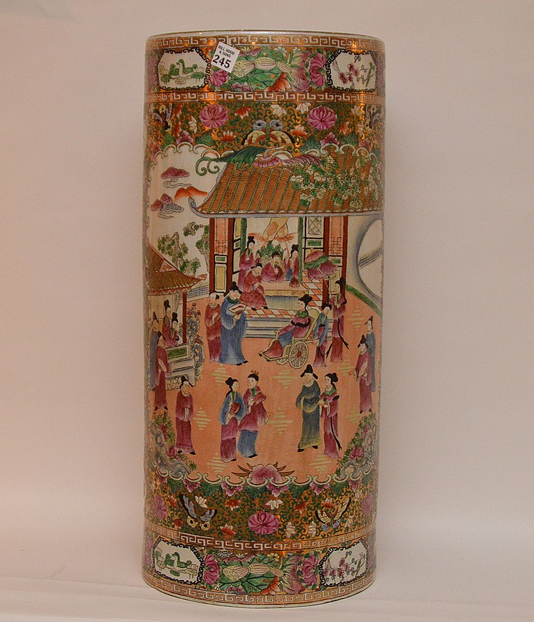 """Chinese Umbrella Stand Enameled in the Rose Medallion Pattern. Elaborately decorated with alternating panels of court figures, phoenix and florals. H 26' with large 11"""" diameter. 30's to 50's period. Fine detailed condition."""