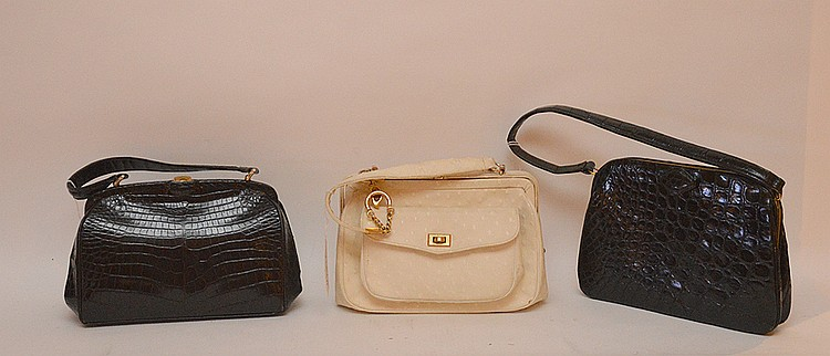 "Set of Three Vintage Purses: Rosenfeld Harry ostrich style, (soiled inside) 2nd French made in Paris for Sax Fifth Ave, with Paris Tour Eiffel small mirror, 3rd, fine leather with alligator motif. Varied sizes 10"" x 6 ½"". Slight wear to the"