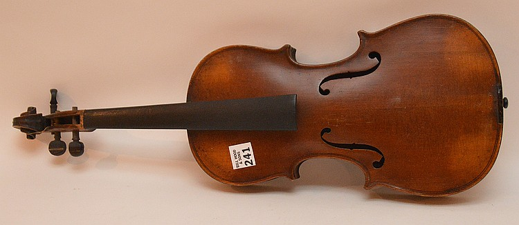 Good Italian Violin circa late 40's Inserted with a Stradivarius wood pulp label remnant same color as the inner wood that reads: Antonius Stradivarius Cremonefis Faciebat Anno 17 with the St. George cross. The body is sturdy & in Rare Chinese