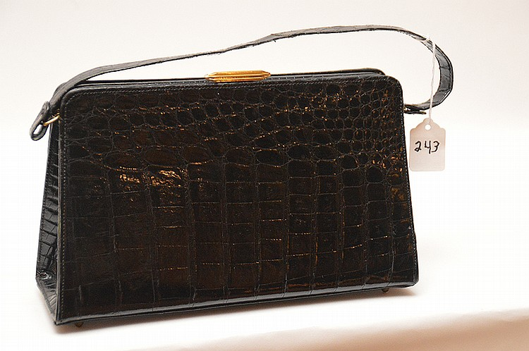 "Oscar de la Renta Lizard & Mayer NY, Alligator Evening Bags. The black Mayer Alligator purse is stamped Mayer N.Y, in fine condition inside & out, 11"" w x 6 ½"" h & 13"" to handles. The de La Renta clutch is comprised of lizard with cobra snake"