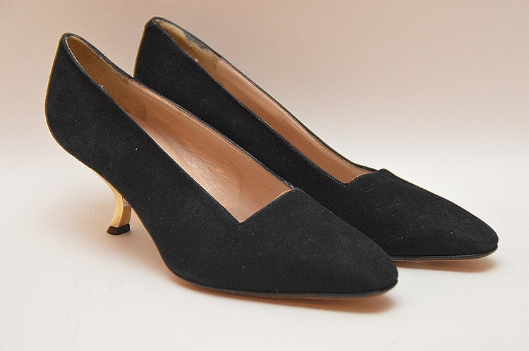 "Roger Vivier Classic Black Suede with the Gold Tone ""Coma"" or Decollete 2 ½""Heels. Roger Vivier has been Queen Elizabeth II's preferred shoemaker for decades. Like new condition. Size: EU-36 ½"". Inner sole length 8 ½"", outer sole width"
