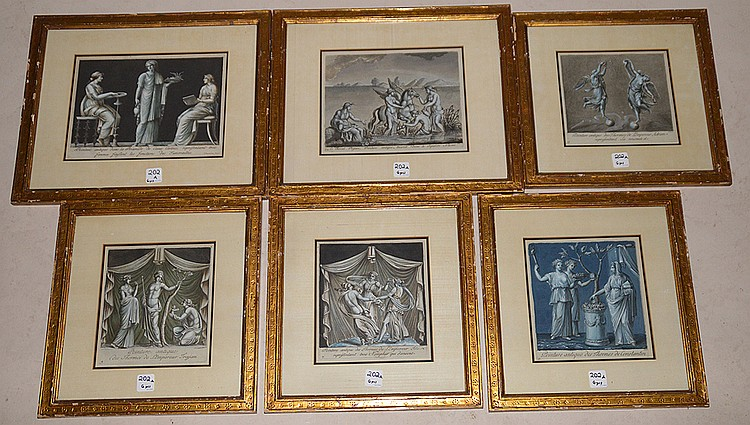 6 Assorted Framed Hand Colored Engravings. 4 Engravings 7 1/2
