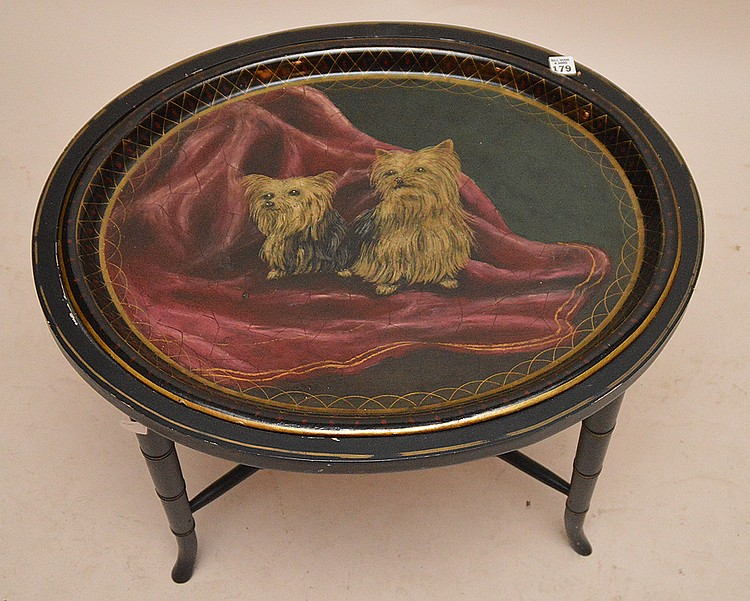 Oval Tole tray table with 2 yorkies painted, custom stand, 18
