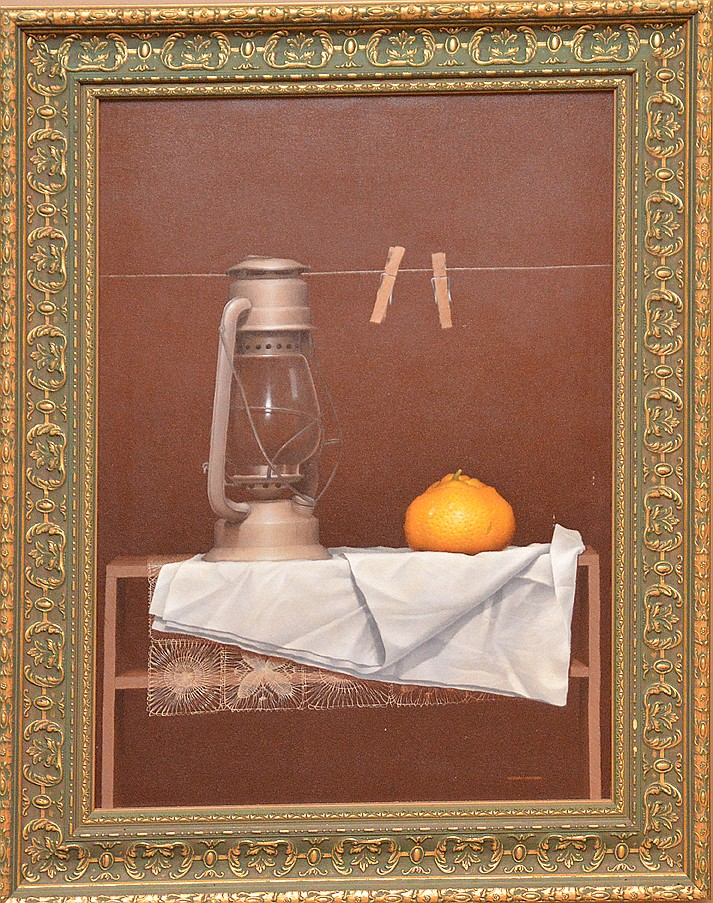 Hernan Miranda 20th Century Latin American Art Painting, oil on canvas, Still life oil lamp fruit, approx. 28in. x 20in.
