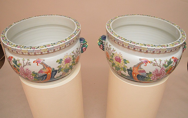 Pair white faux skin pedestals sold with porcelain Chinese cache pots
