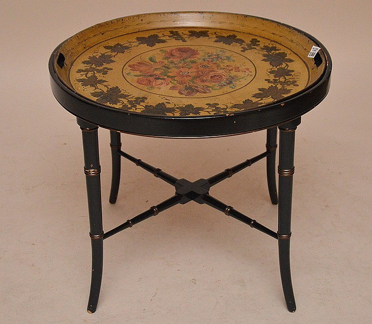 Tole tray, mustard with lforal design on custom stand, 18